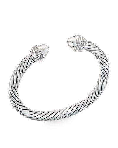 Cable Bracelet w/ Diamonds & Onyx