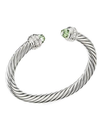 Cable Bracelet w/ Diamonds & Prasiolite