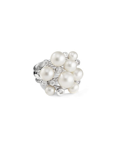 Large Pearl Cluster Ring w/ Diamonds