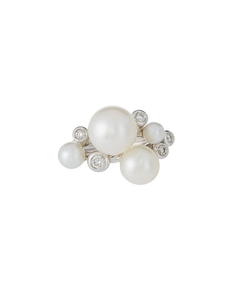 David Yurman Pearl & Diamond Cluster Ring