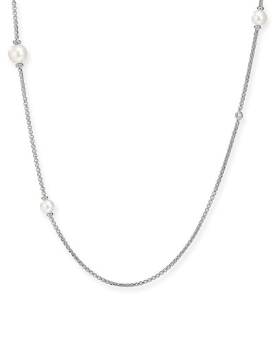 Long Pearl & Diamond Chain Necklace, 42