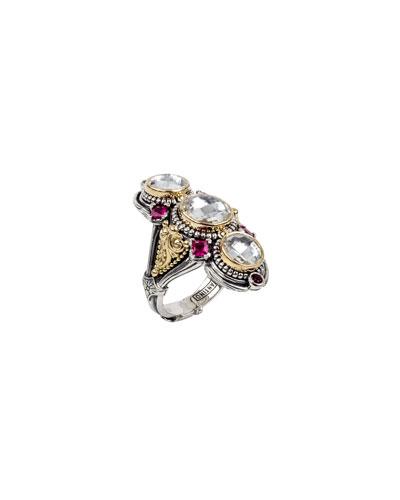 Pythia Triple Crystal & Corundum Ring