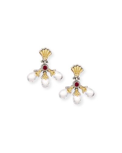 Pythia Corundum & Triple-Crystal Earrings