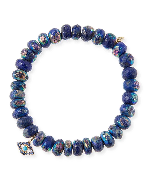 14k Lapis Bead & Turquoise Eye Bracelet