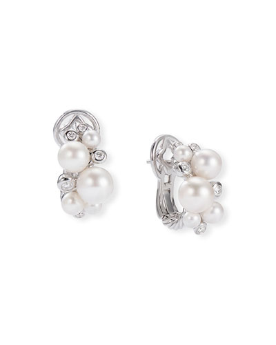 Pearl & Diamond Cluster Huggie Earrings