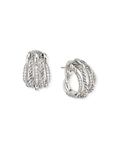 Tides Diamond & Cable Shrimp Hoop Earrings