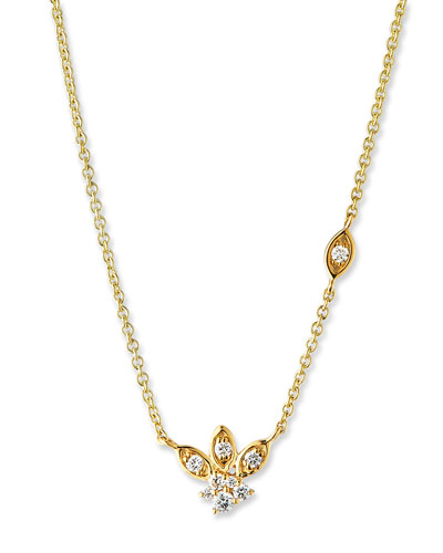 14k Gold Diamond Marquise Petal Pendant Necklace