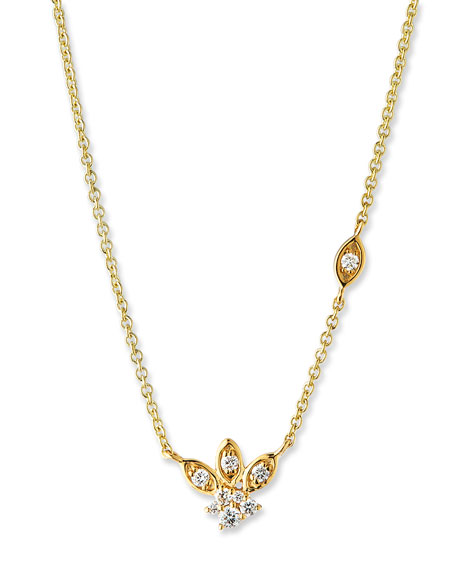 Sydney Evan 14k Gold Diamond Marquise Petal Pendant Necklace