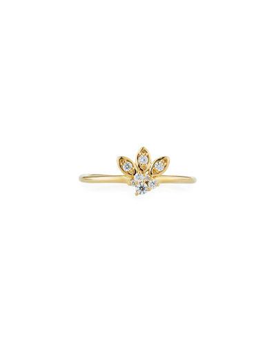 14k Gold Diamond Marquise Petal Ring, Size 6.5