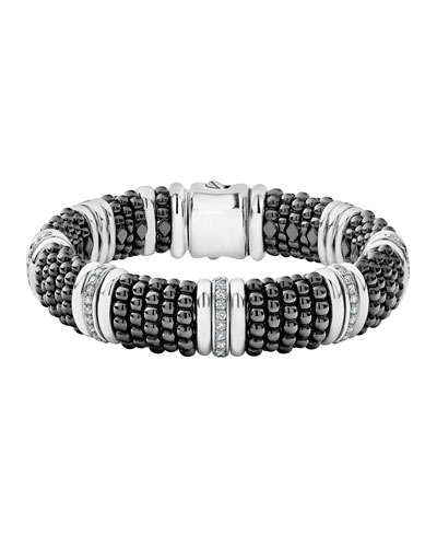Black Caviar Silver Diamond Link Bracelet, 15mm, Size M