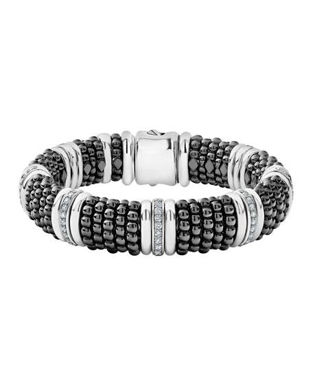 Lagos Black Caviar Silver Diamond Link Bracelet, 15mm, Size M