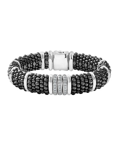Black Caviar Diamond Link Bracelet, 15mm