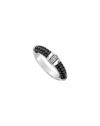 Black Caviar Diamond Tapered Ring, 3mm