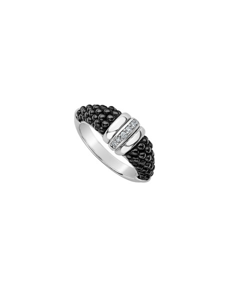 Lagos Black Caviar Diamond Tapered Ring