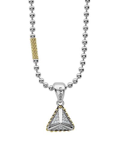 KSL Lux Diamond Silver & 18k Gold Pyramid Pendant Necklace