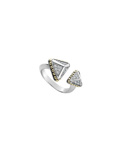 KSL Lux Diamond Silver & 18k Gold Double Pyramid Ring