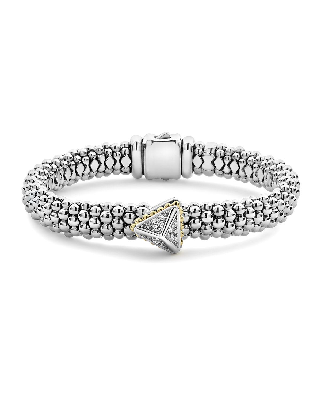 18K Yellow Gold & Sterling Silver Ksl Luxe Diamond Pyramid Station Bracelet in Diamond/ Silver