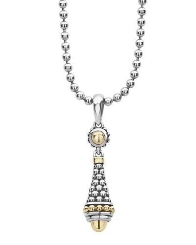 Silver & 18k Gold Caviar Pendant Necklace, 18