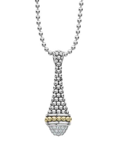 Silver & 18k Gold Diamond Caviar Pendant Necklace, 34
