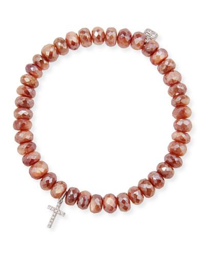 14k Moonstone & Cross Charm Bracelet