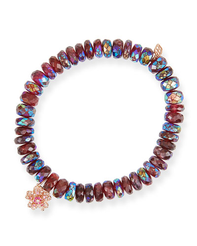 Rhodolite Garnet Bead Bracelet with 14k Rose Gold Sakura Charm