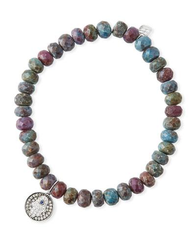 Kyanite Quartz & Diamond Hamsa Bracelet
