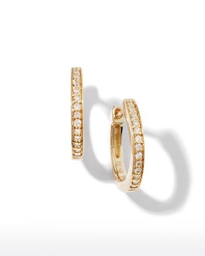 14k Diamond Small Huggie Hoop Earrings