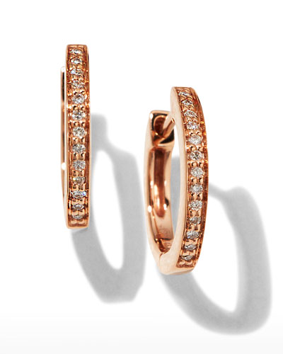 14k Rose Gold Diamond Small Huggie Hoop Earrings