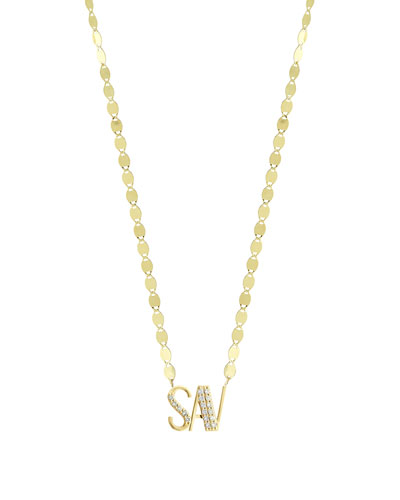 Gold Personalized Three-Letter Pendant Necklace w/ Diamonds