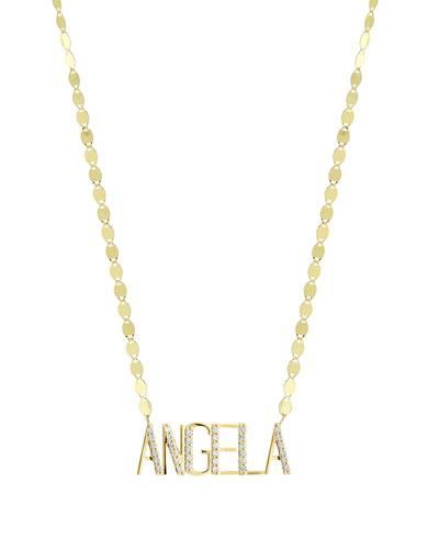 Gold Personalized Six-Letter Pendant Necklace w/ Diamonds