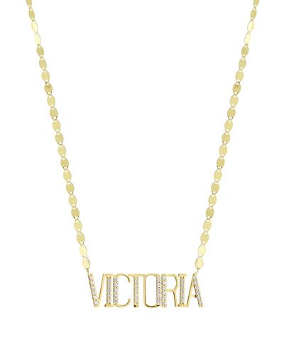 Gold Personalized Eight-Letter Pendant Necklace w/ Diamonds