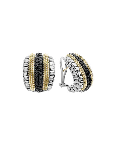 Black Diamond Lux Huggie Hoop Earrings