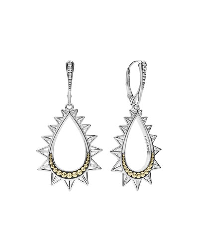 KSL Silver & 18k Gold Spiked Pear Drop Earrings