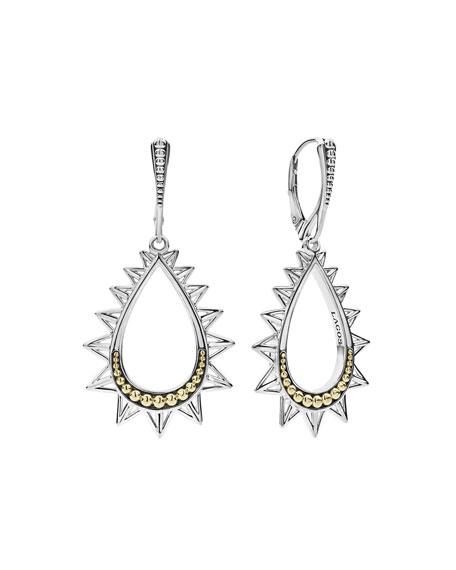 Lagos KSL Silver & 18k Gold Spiked Pear Drop Earrings