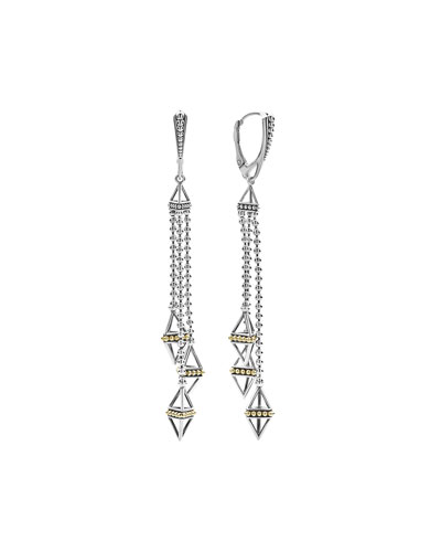 KSL Silver & 18k Gold Triple Pyramid Tassel Earrings