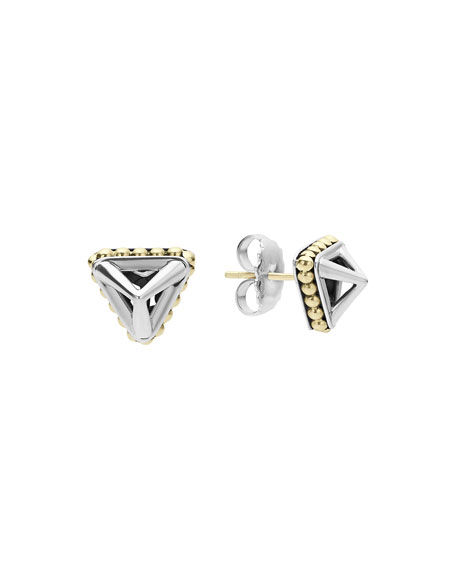 Lagos KSL Silver & 18k Gold 12mm Pyramid Stud Earrings