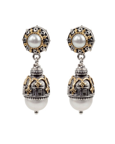 Thalia Double-Pearl Drop Earrings