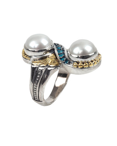 Thalia 2-Pearl & Blue Spinel Ring, Size 7