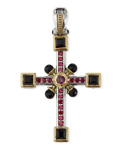 Multi-Stone & Pearl Cross Pendant