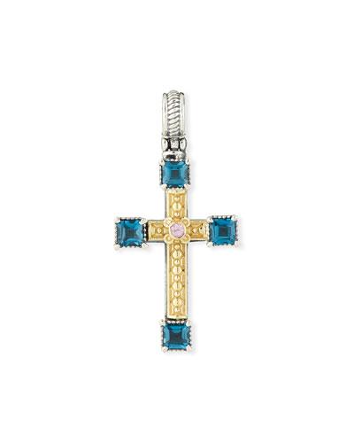18k Topaz & Sapphire Cross Charm