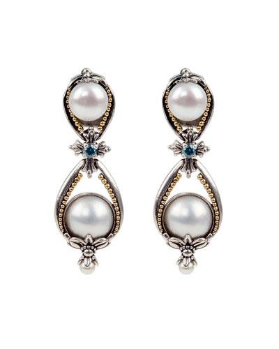 Thalia Pearl & Blue Spinel Earrings