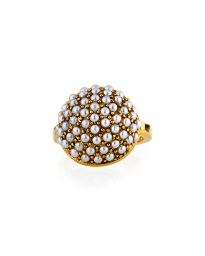 Empire Ring w/ Glass Pearls, Size 7