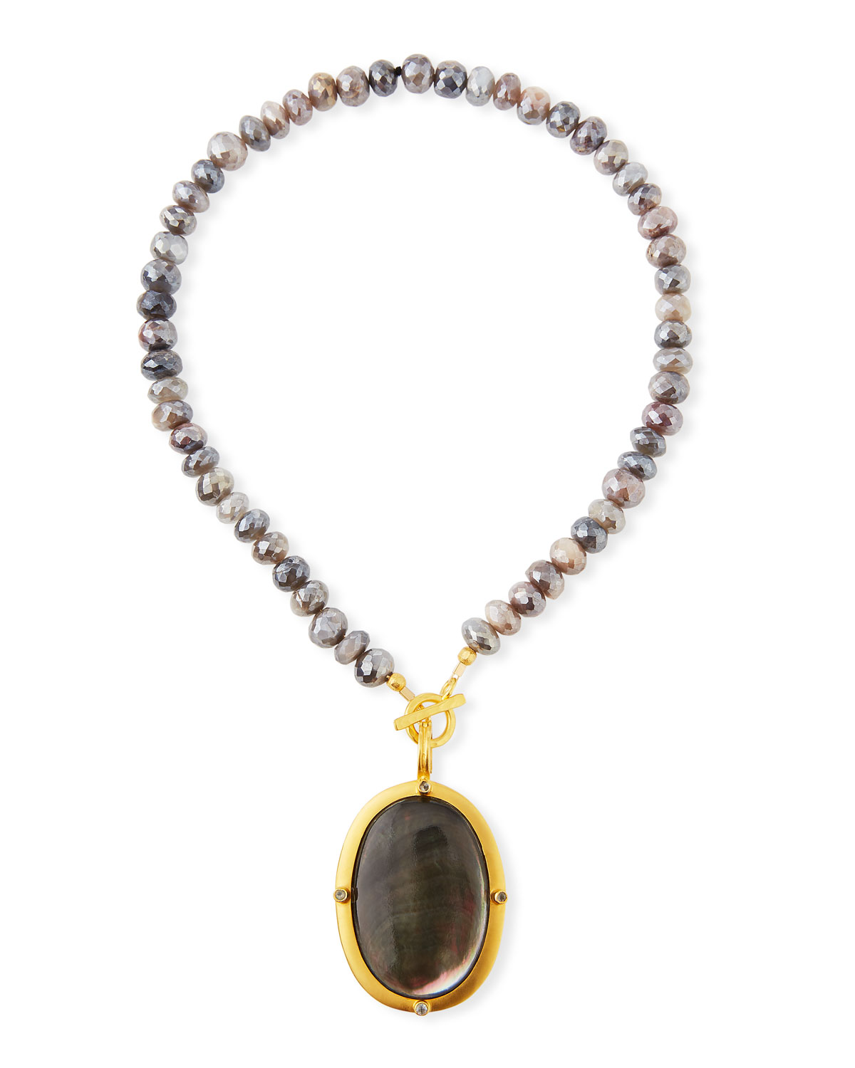 Titanium Moonstone & Black Mother-of-Pearl Necklace