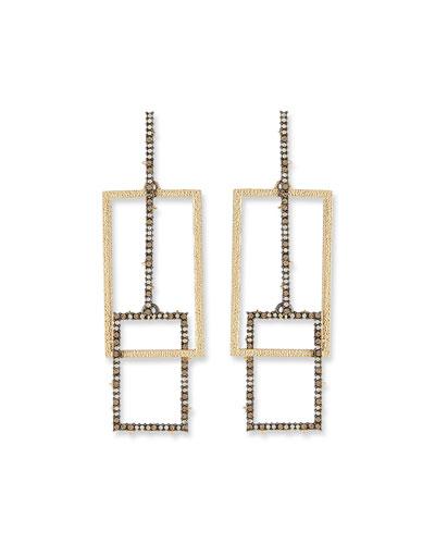 Brutalist Crystal Encrusted Link Earrings