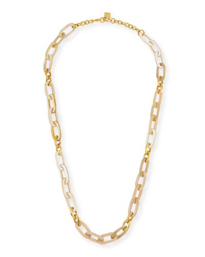 Light Horn & Bronze Link Necklace, 40