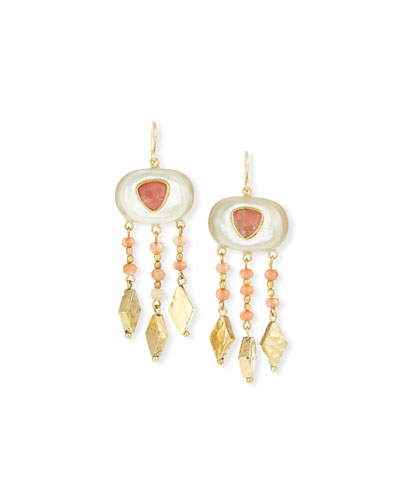 Horn & Bronze Dangle Earrings with Rose Quartz & Pink Sandstone