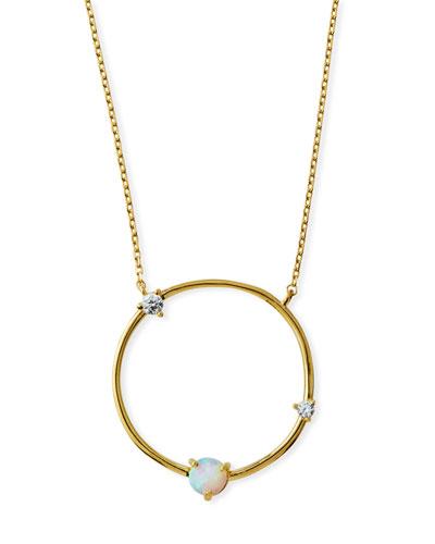 Large Opal Circle Pendant Necklace