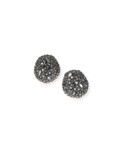 Organic Pod-Shaped Crystal Encrusted Button Earrings