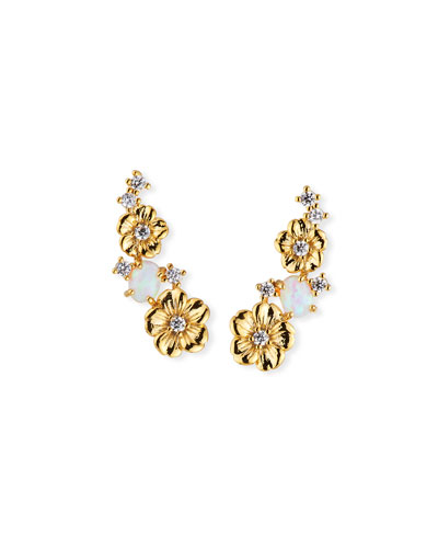 Floral Opal Ear Climber Earrings