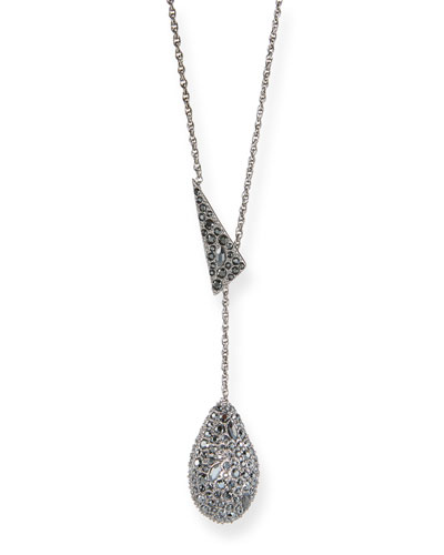 Crystal Encrusted Drop Lariat Necklace